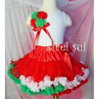 Christmas Red with Green White Red Ruffles Pettiskirt Party Tutu 1-7Y WC11