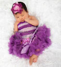 Newborn Baby Purple Pettiskirt Crochet Tube Top 2pc Set