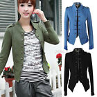 Womens Stand Up Collar Epaulet Double Breasted Short Jacket Coat Outwear Hot