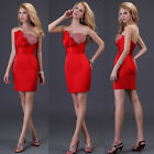Strapless Red Satin column Bridesmaid Party Evening Cocktail Dress 6 8 10 12 14