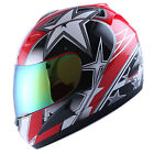 NEW ADULT MOTORCYCLE STREETBIKE FULL FACE HELMET STAR RED SIZE S M L XL