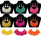 1Set Candy Color Earrings Necklace Jewelry Multi-Layer Acrylic Short Chain Lady