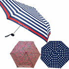 Ladies Womens Flat Pack Folding Umbrella Brolly Striped Flowers Spotted UU0183