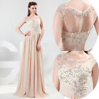 Elegant Chiffon Sleeveless Beaded Full Length Ball Gown Evening Prom Party Dress