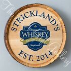 Personalized Whiskey Barrel Wall Sign with aged metal hoop 6 Different Designs