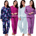 LADIES FLANNEL COTTON CHECK WINTER WARM PYJAMAS SUITS GIFT BRUSHED YARN DYED