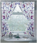Violets Flower Blooms 100% Polyester Window Curtain with Tie-Backs