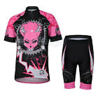 Pink Chain Devil Cycling Bike Short Sleeve Bicycle Women Jersey + Shorts Set New