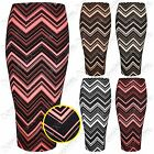 NEW WOMENS LADIES BODYCON ZIGZAG EMBOSS PRINT PENCIL SKIRT MIDI LOOK LONG SKIRTS