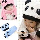 Toddler Baby Girl Boy Cap Cute Panda Kids Hat + Scarf Set Keep Warm    #T1K