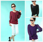 New women Lady Casual Long Sleeve Crew Neck top Shirt Blouse    3colors
