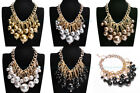 5 Colors Fashion Gold Metal Thick Chain Big Pearl Beads Cluster Pendant Necklace