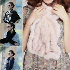 Black 100% Real Farms Rex Rabbit Fur Neck Warmer Women Scarf Wrap Cape Shawl