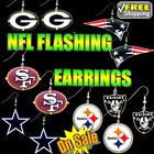 NFL Lightup Flashing LED Earrings - Packers, 49ers, Patriots, Giants - FREE SHIP