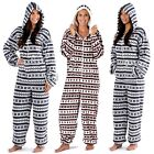 Ladies Halle Nordic Fairisle Hooded Onesie Fleece Pyjama Sleepsuit Size 10-20