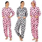Ladies Zoe Hearts Hooded Onesie All in One Fleece Pyjama Sleepsuit Size 10-20
