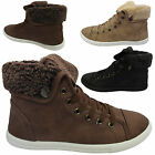 LADIES FAUX FUR CUFFED GIRLS FLAT HIGH PUMPS HI TOP TRAINERS BOOTS SHOES UK SIZE