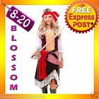 J32 Ladies Caribbean Pirate Wench Outfit Fancy Dress Halloween Party Costume