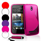 S Line Wave Gel Case Cover For HTC Desire 500+ Film + Stylus