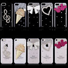 Luxury 3D Crystal Diamond Case Bling Diamante Clear Hard Back Cover fr iPhone 5C