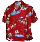 Womens Christmas Santa Claus Hawaiian Shirt, Red