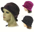 Ladies Bucket Hat Cap Packable Foldable Felt Great Gatsby 20s Cloche Flower Wool