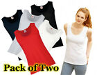 2 Pack Fruit Of The Loom Lady-Fit Valueweight Vest, Ladies T-Shirts 5 Colours
