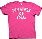"FIREFIGHTER'S WIFE ""Distressed Print""  Pink or Navy Blue Cotton T-shirts"