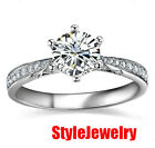 925 Sterling Silver White Gold Fill Created Diamond Wedding Engagement Ring R115