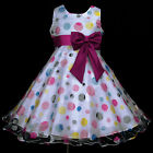 w866 UkG Hotpink Dots Fuchsia Blue White Wedding Party Flower Girls Dress 2-12y