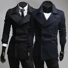 Stylish Tops Design Jackets Men's Slim Fit Double Pea Coat Overcoat IN XS S M L