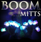 LED BOOM GLOVES with White Tips LED Gloves Rave Man Lights Flashing Hands FUN!