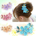 Fashion Lady Flower Charm Pattern Alloy Rhinestone Barrette Hair Clip Comb JP9