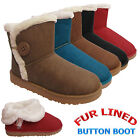 LADIES WOMENS BUTTON FLAT SNUGG WINTER SNOW ANKLE FUR LINED TRIM BOOTS BOOTIES