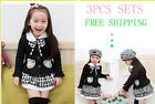 Girls Kids Classic School In Black Lattice Hat+Top+Skirt 3PCS Outfit Age 1-8Yrs