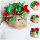 XMAS Baby Girls Red Green Polka Dots Hair Bow Headband