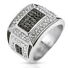 Stainless Steel Micro Paved Black and Clear CZs Mosaic Cast Ring Men's Band