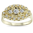 Antique 14K Yellow Gold .45CT Diamond Ring Womens Anniversary Vintage Art Deco