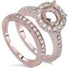 1.00CT Vintage Engagement Wedding Ring Semi Mount Set 14K Rose Gold Antique Halo