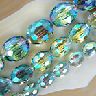 Faceted Green AB Quartz Flat Oval Beads 9x12mm 12x16mm 16x20mm
