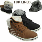 WOMENS STUDDED LADIES TRAINERS WARM HI HIGH TOP FUR LINED ANKLE BOOTS FLAT SHOE