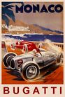 MONACO FASTEST BUGATTI STREET CAR RACE GRAND PRIX FRENCH VINTAGE POSTER REPRO