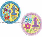 """40 Small First 1st Birthday Party 8"""" Paper Plates Hugs & Stitches 20cm Boy/Girl"""