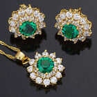 Flower Round Cut Created Gemstone 18K GP Necklace Pendant Earrings Jewellery Set