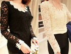 Fashion Women Round-Neck Lace Long Sleeve Sweet T-Shirt Blouses Tops
