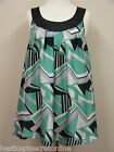 PLUS SIZE TOP GREEN BLACK GREY PRINT LIGHT FLOATY SLEEVELESS