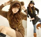 Women Cute baby bear plush rabbit ears Faux fur Tops Zip Jacket Outwear Hoodie