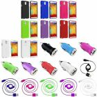 Rubberized Hard Case+Retractable Cord+ Car Charger For Samsung Galaxy Note 3 III