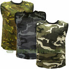 Adults MESH CAMO Camouflage Army Print Combat Sleeveless VEST TOP Crew Neck Mens