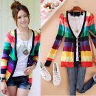 NEW Womens Long sleeve knitwear Knitted Sweater Stripe Top Cardigan V-NECK Coats